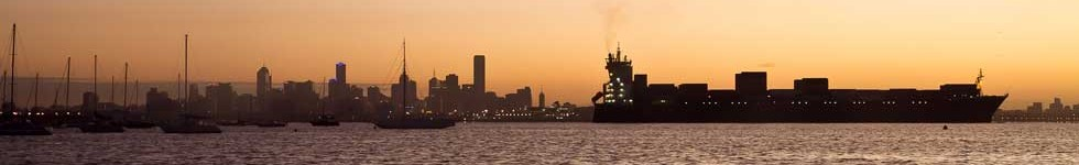 Ship and the Melbourne skyline - Clarke Global Logistics