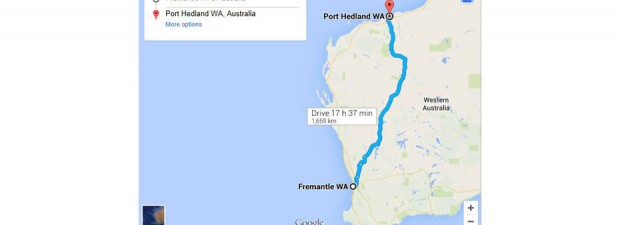 Google Map Fremantle WA to Port Hedland WA